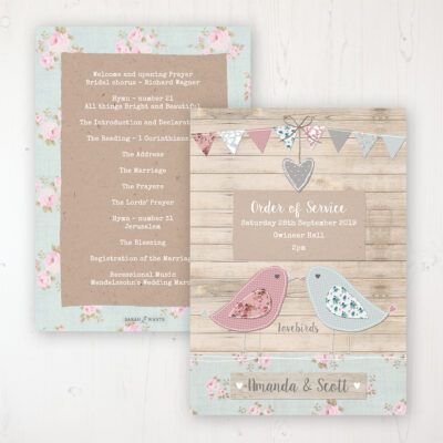 Lovebirds Wedding Order of Service - Card Personalised front and back