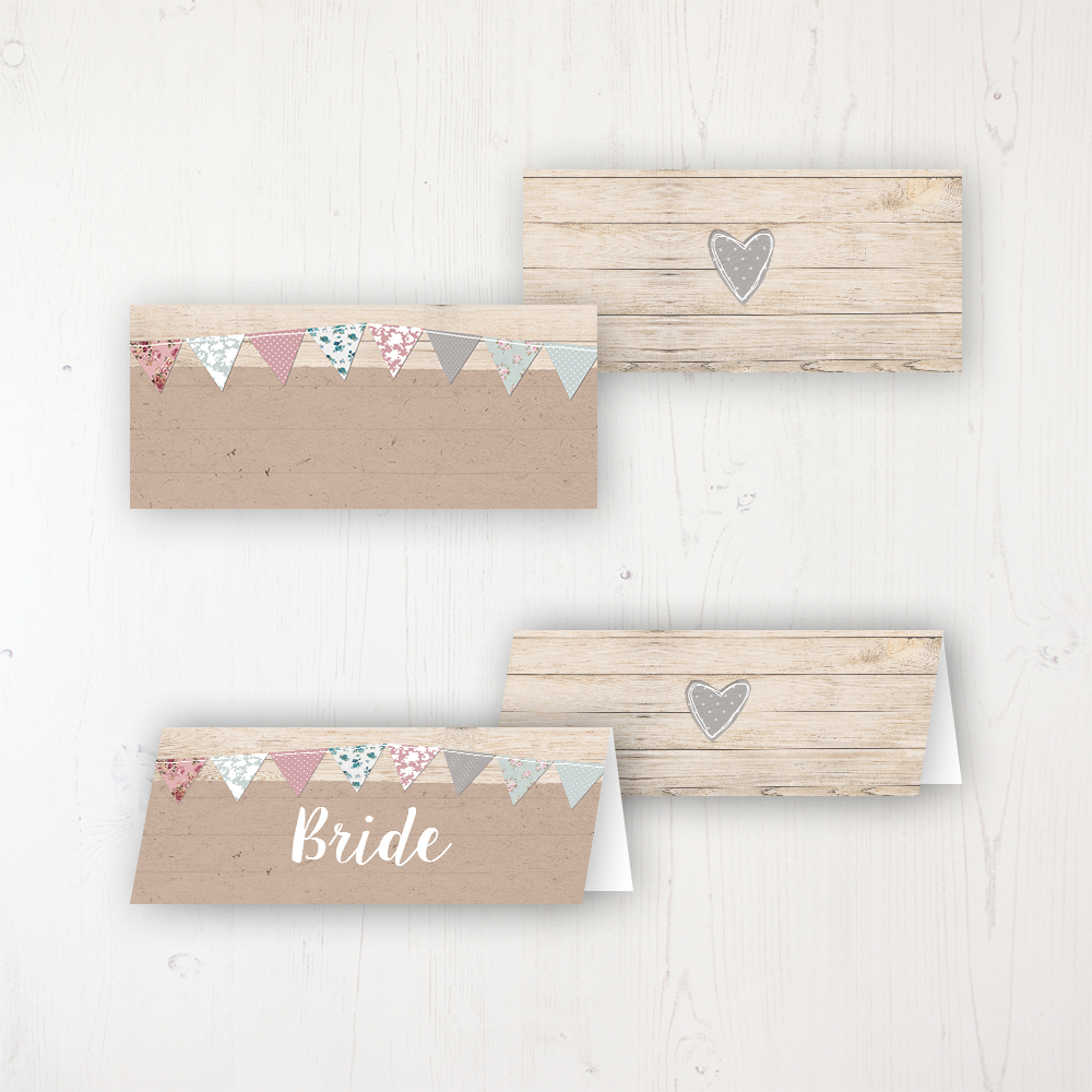 Lovebirds Wedding Place Name Cards Blank and Personalised with Flat or Folded Option
