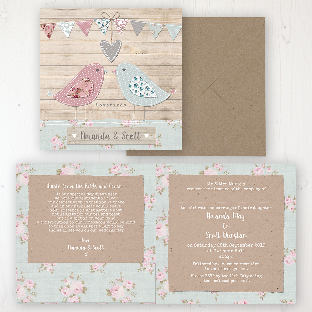 Lovebirds Wedding Invitation - Folded Personalised Front & Back with Pocket in inside cover. Includes Rustic Envelope