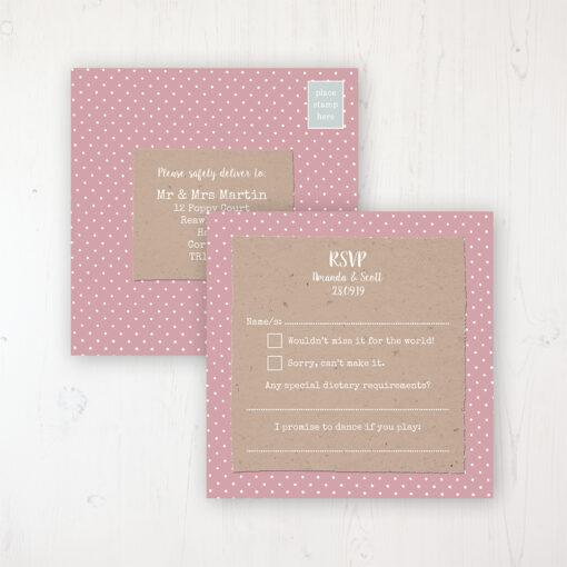 Lovebirds Wedding RSVP Postcard Personalised Front & Back