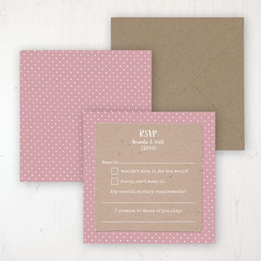 Lovebirds Wedding RSVP Personalised Front & Back with Rustic Envelope