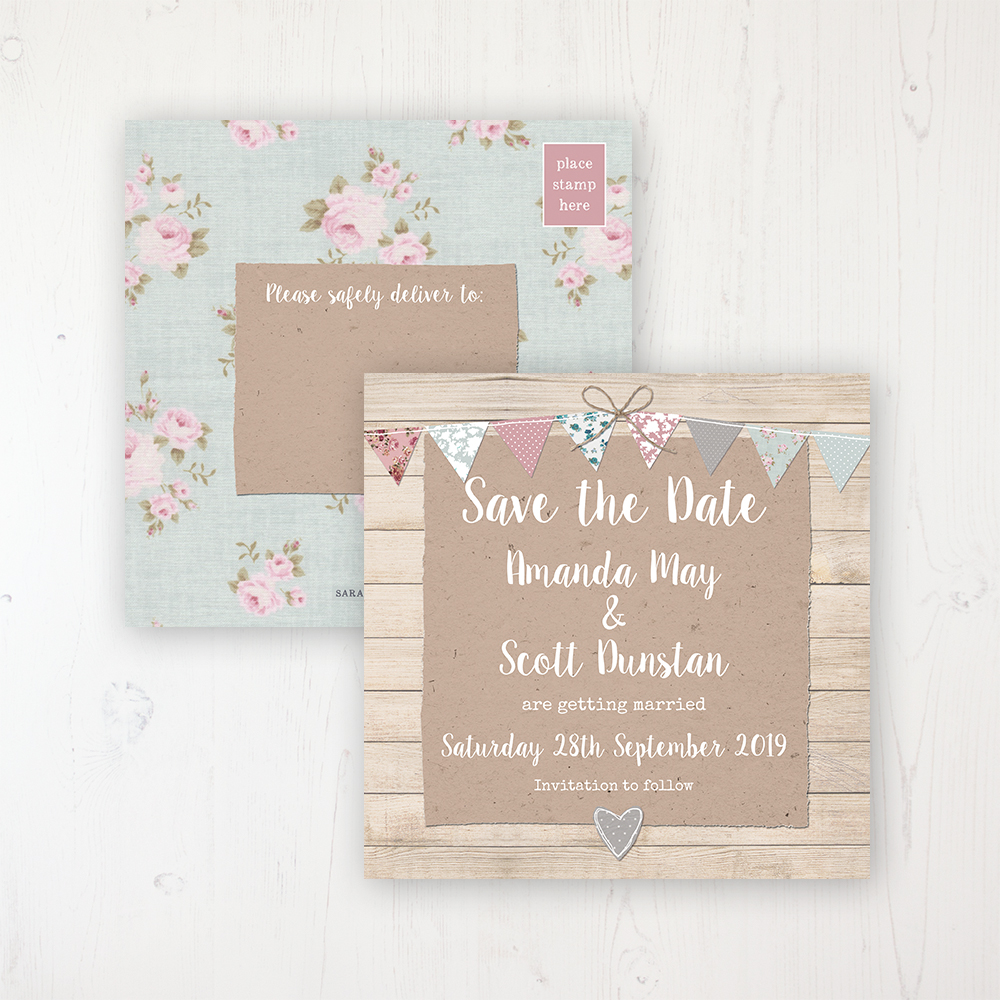 Lovebirds Wedding Save the Date Postcard Personalised Front & Back