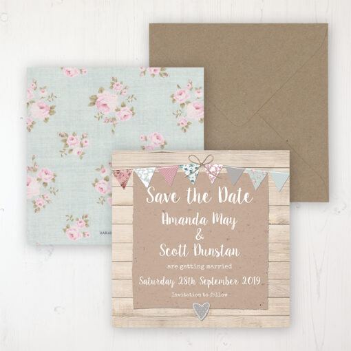 Lovebirds Wedding Save the Date Personalised Front & Back with Rustic Envelope