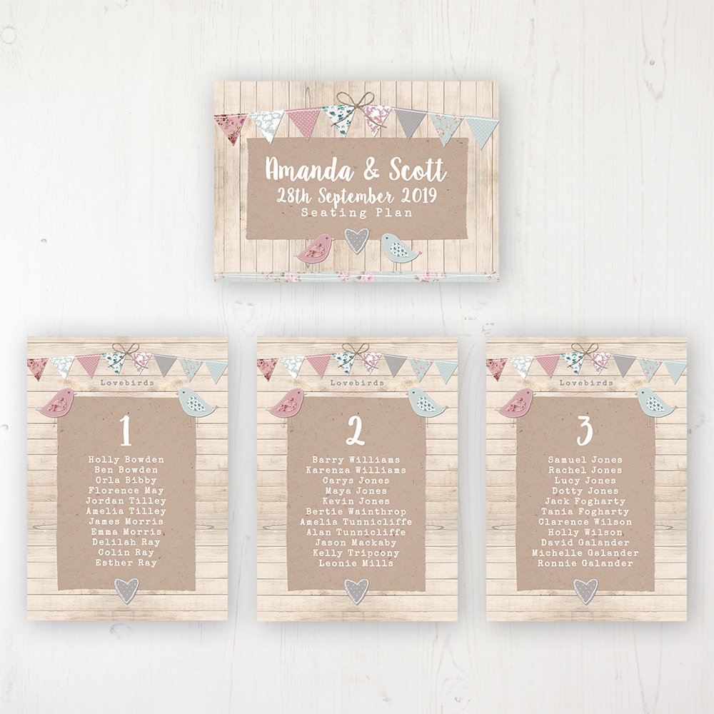 Lovebirds Wedding Table Plan Cards Personalised with Table Names and Guest Names