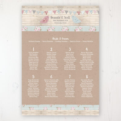 Lovebirds Wedding Table Plan Poster Personalised with Table and Guest Names