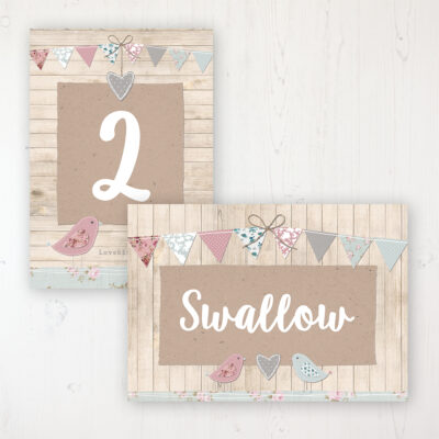Lovebirds Wedding Table Name & Number Personalised Table Name Card and Number Card