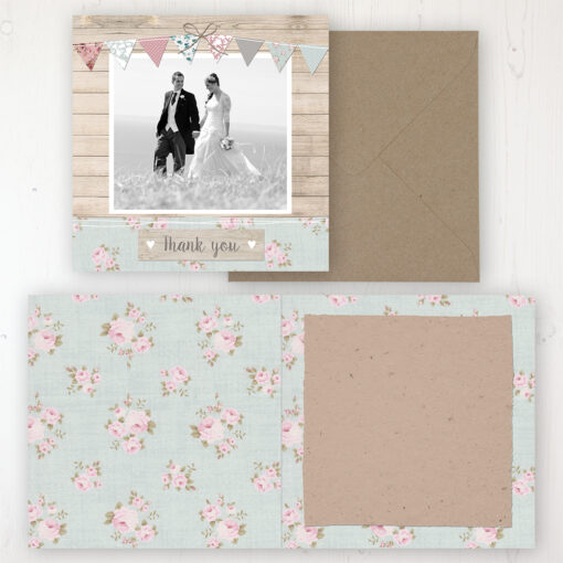 Lovebirds Wedding Thank You Card - Folded Personalised with a Message & Photo