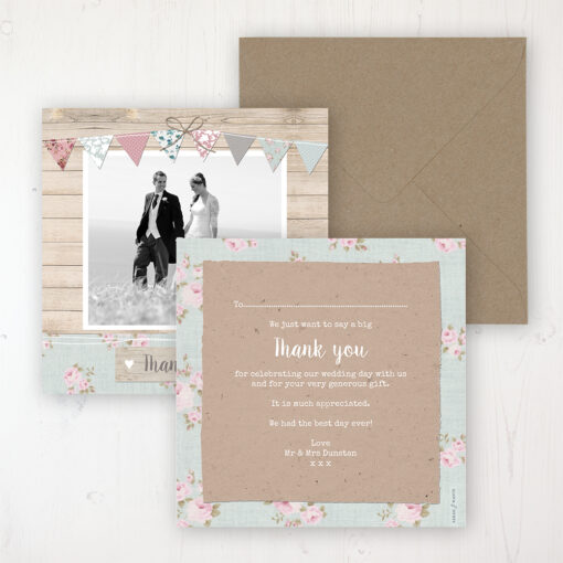 Lovebirds Wedding Thank You Card - Flat Personalised with a Message & Photo