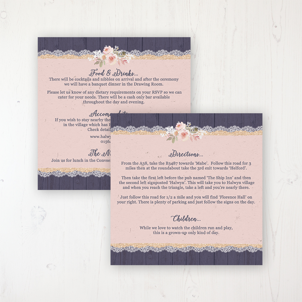 Midnight Glimmer Wedding Info Insert Card Personalised Front & Back