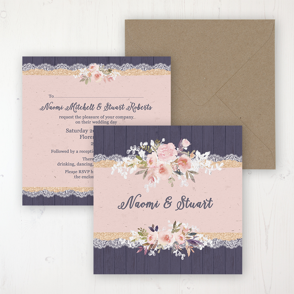 Midnight Glimmer Wedding Invitation - Flat Personalised Front & Back with Rustic Envelope