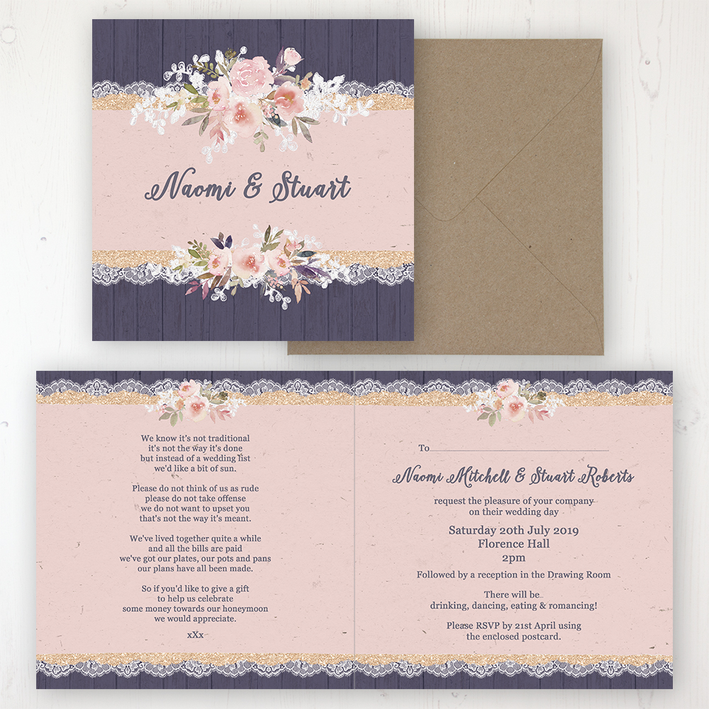 Midnight Glimmer Wedding Invitation - Folded Personalised Front & Back with Rustic Envelope