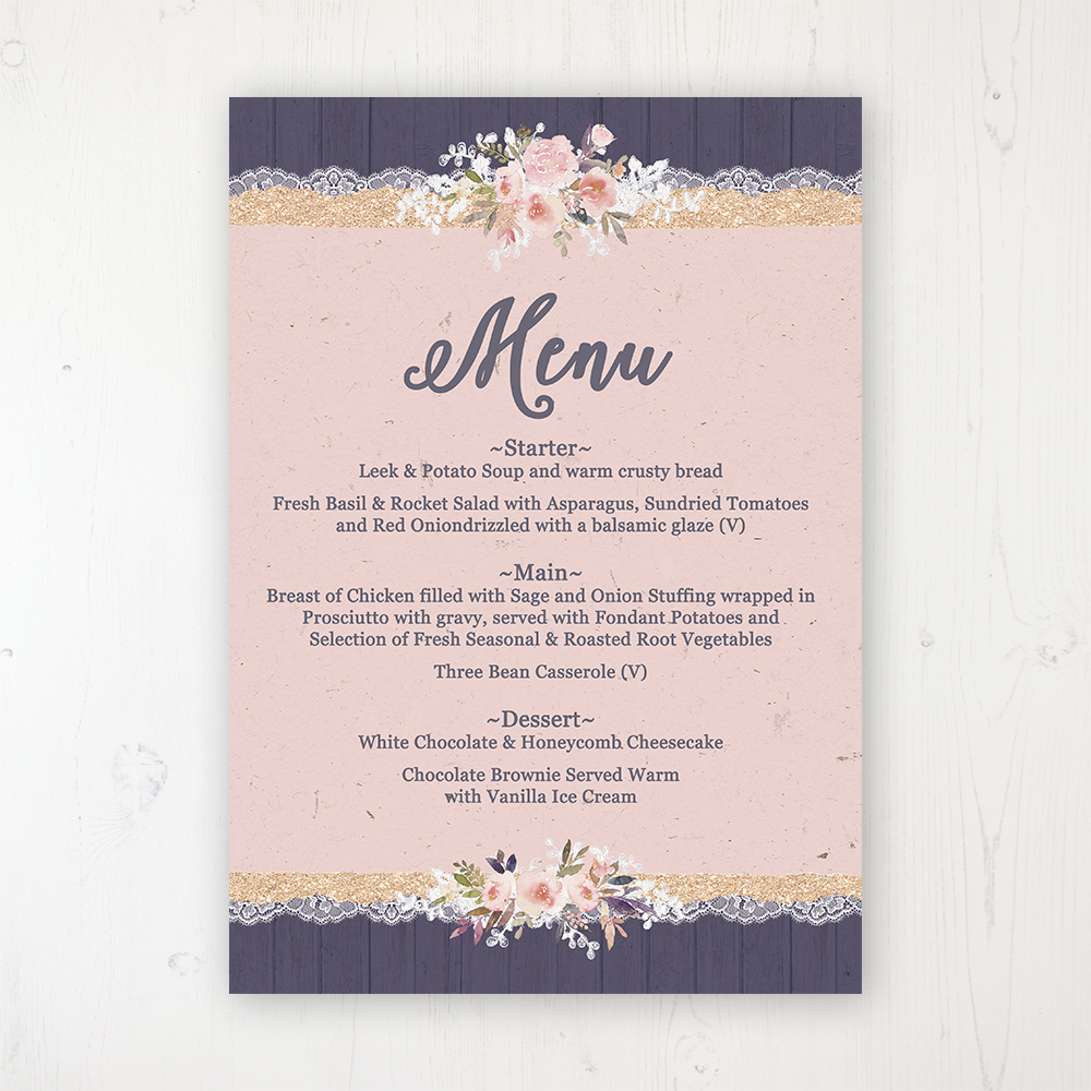 Midnight Glimmer Wedding Menu Card Personalised to display on tables