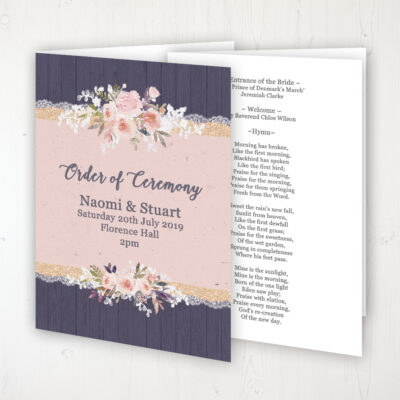 Midnight Glimmer Wedding Order of Service - Booklet Personalised Front & Inside Pages