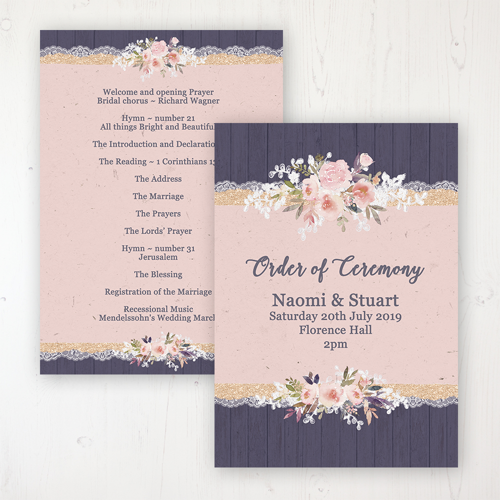 Midnight Glimmer Wedding Order of Service - Card Personalised front and back