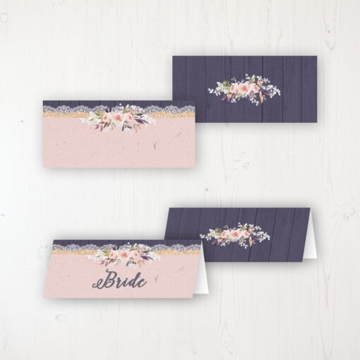 Midnight Glimmer Wedding Place Name Cards Blank and Personalised with Flat or Folded Option