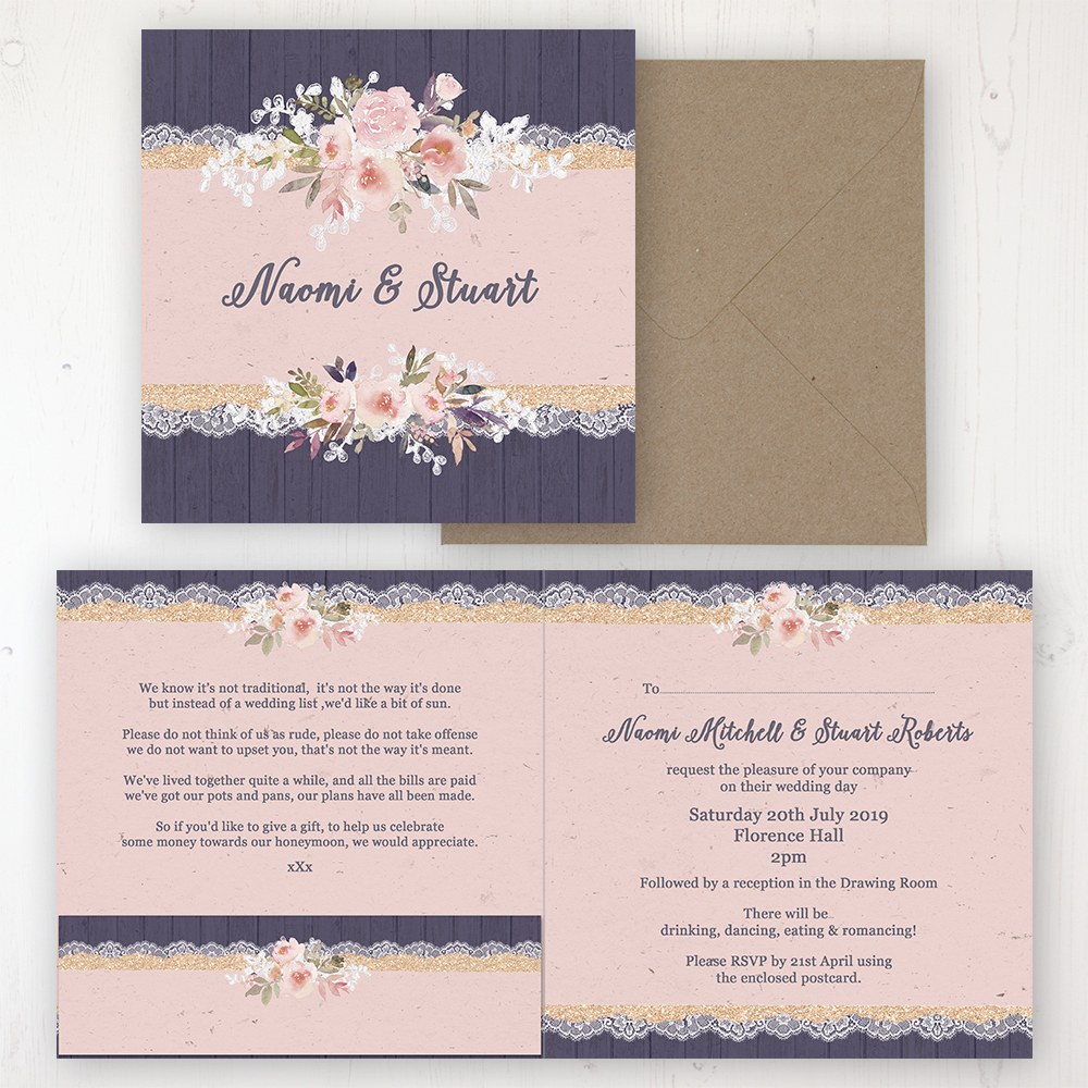 Midnight Glimmer Wedding Invitation - Folded Personalised Front & Back with Pocket in inside cover. Includes Rustic Envelope