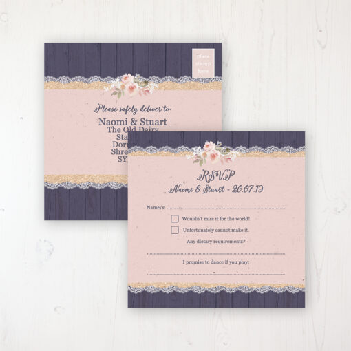 Midnight Glimmer Wedding RSVP Postcard Personalised Front & Back