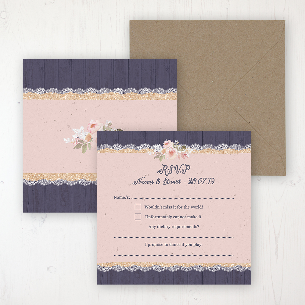 Midnight Glimmer Wedding RSVP Personalised Front & Back with Rustic Envelope