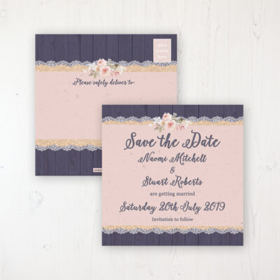 Midnight Glimmer Wedding Save the Date Postcard Personalised Front & Back