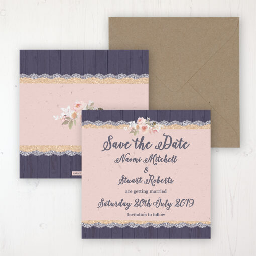 Midnight Glimmer Wedding Save the Date Personalised Front & Back with Rustic Envelope