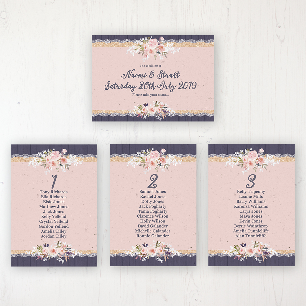 Midnight Glimmer Wedding Table Plan Cards Personalised with Table Names and Guest Names