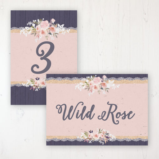 Midnight Glimmer Wedding Table Name & Number Personalised Table Name Card and Number Card