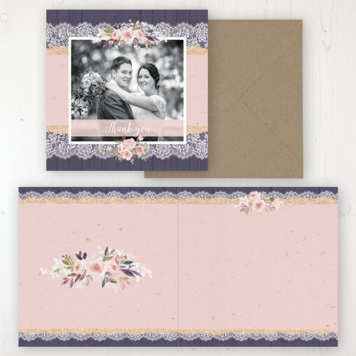 Midnight Glimmer Wedding Thank You Card - Folded Personalised with a Message & Photo