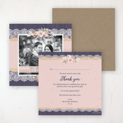 Midnight Glimmer Wedding Thank You Card - Flat Personalised with a Message & Photo