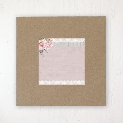 Mink Rose Wedding Envelope Label on Rustic Brown Envelope