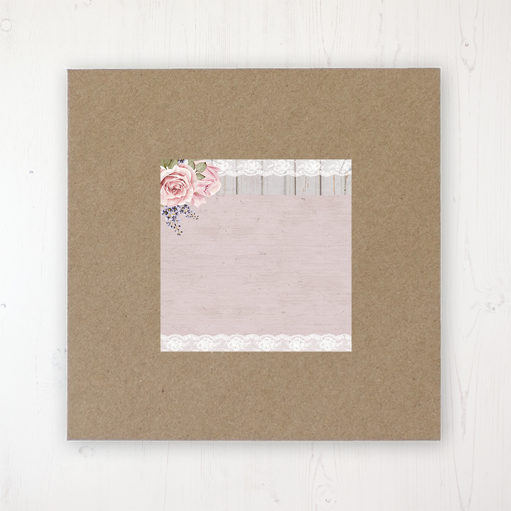 Mink Rose Wedding Envelope Label on Rustic Brown Envelope