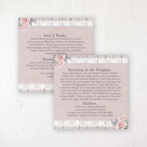 Mink Rose Wedding Info Insert Card Personalised Front & Back