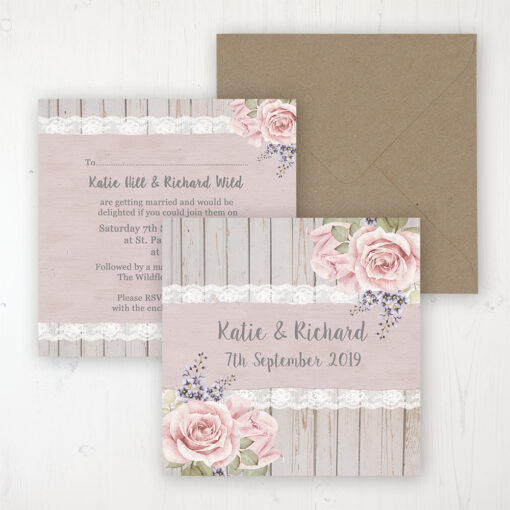 Mink Rose Wedding Invitation - Flat Personalised Front & Back with Rustic Envelope