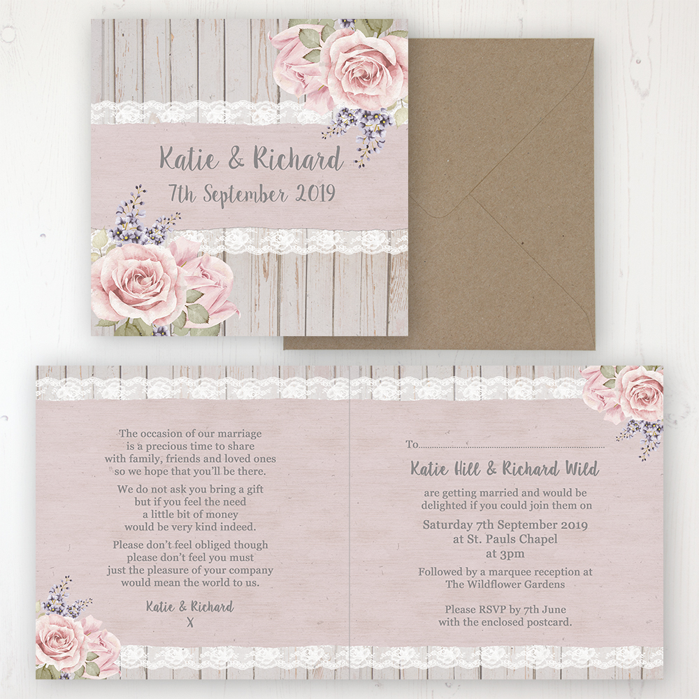 Mink Rose Wedding Invitation - Folded Personalised Front & Back with Rustic Envelope