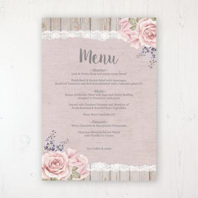 Mink Rose Wedding Menu Card Personalised to display on tables
