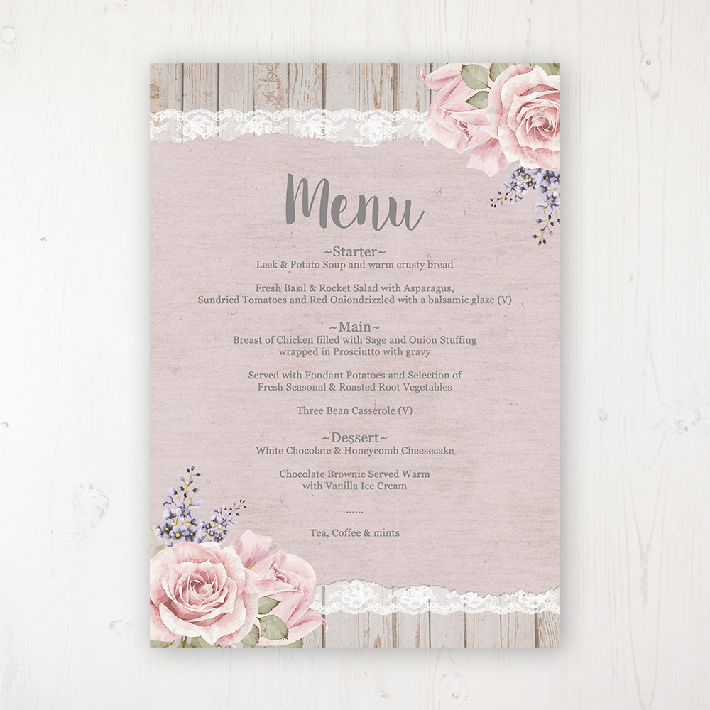 Mink Rose Wedding Menu Card Personalised to display on tables