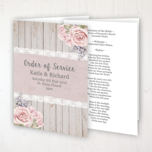 Mink Rose Wedding Order of Service - Booklet Personalised Front & Inside Pages