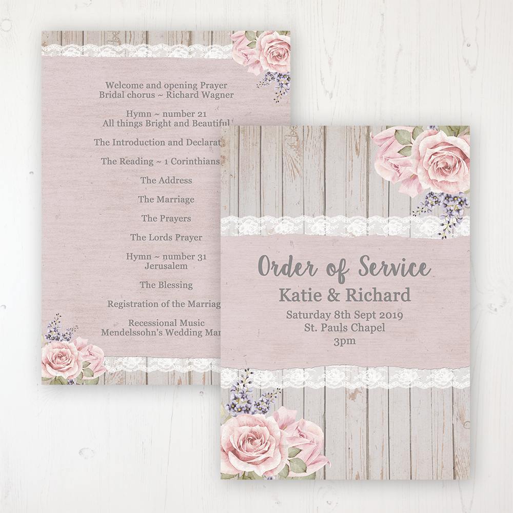 Mink Rose Wedding Order of Service - Card Personalised front and back