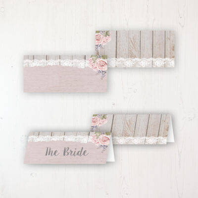 Mink Rose Wedding Place Name Cards Blank and Personalised with Flat or Folded Option