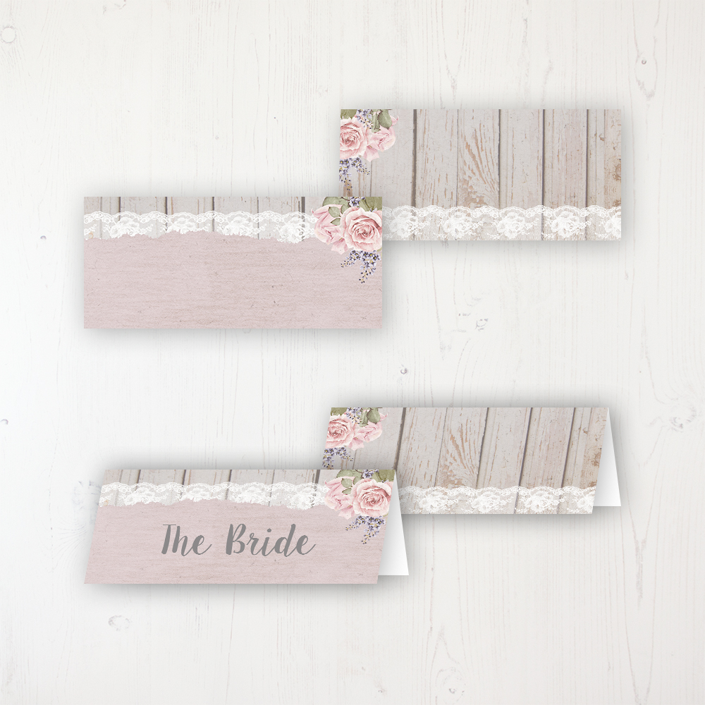 Wedding Name Cards.Mink Rose Wedding Place Names Sarah Wants Stationery
