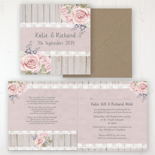 Mink Rose Wedding Invitation - Folded Personalised Front & Back with Pocket in inside cover. Includes Rustic Envelope