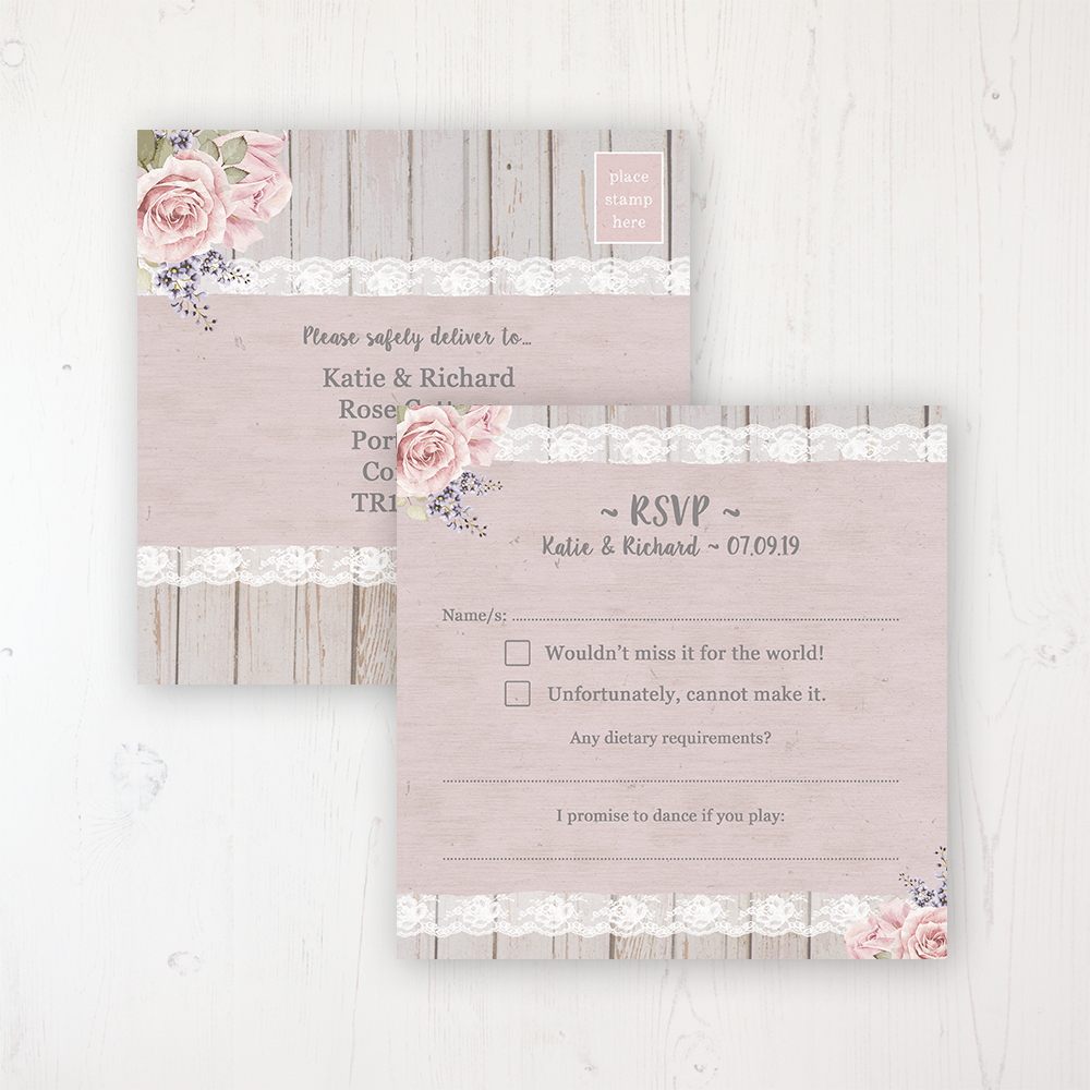 Mink Rose Wedding RSVP Postcard Personalised Front & Back