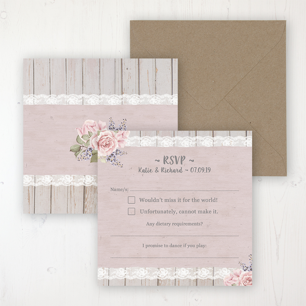 Mink Rose Wedding RSVP Personalised Front & Back with Rustic Envelope