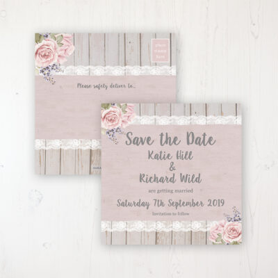 Mink Rose Wedding Save the Date Postcard Personalised Front & Back