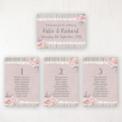 Mink Rose Wedding Table Plan Cards Personalised with Table Names and Guest Names