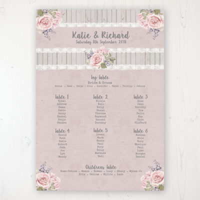 Mink Rose Wedding Table Plan Poster Personalised with Table and Guest Names