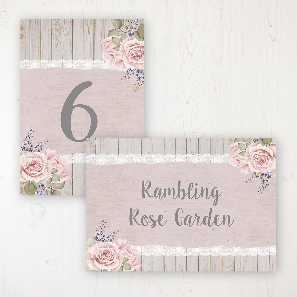 Mink Rose Wedding Table Name & Number Personalised Table Name Card and Number Card