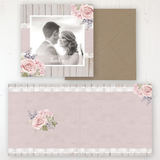 Mink Rose Wedding Thank You Card - Folded Personalised with a Message & Photo