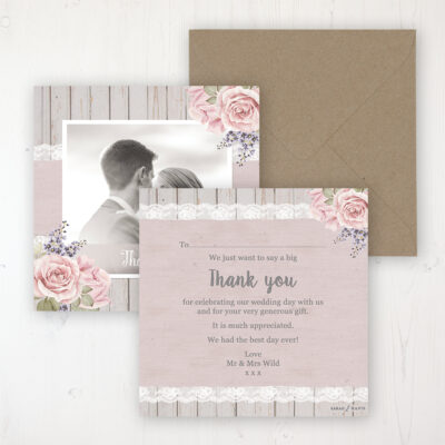 Mink Rose Wedding Thank You Card - Flat Personalised with a Message & Photo