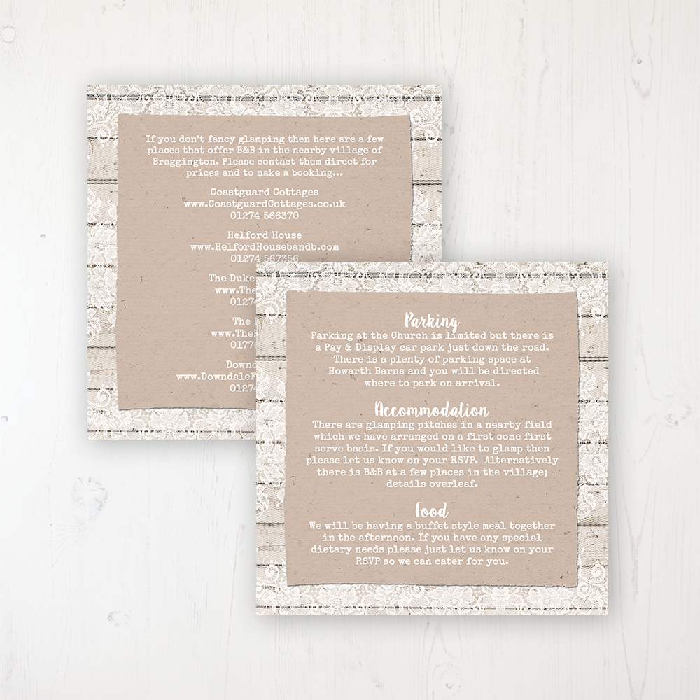 Natural Elegance Wedding Info Insert Card Personalised Front & Back