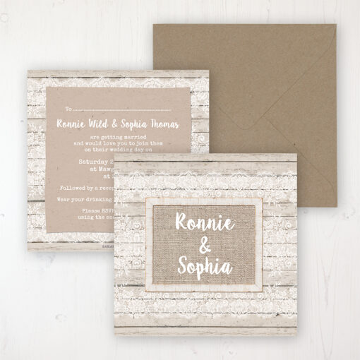 Natural Elegance Wedding Invitation - Flat Personalised Front & Back with Rustic Envelope